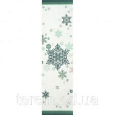 """Скатерть - дорожка """"Зеленые снежинки"""""""
