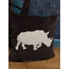 Подушка бархатная Terem Белый носорог 50x50