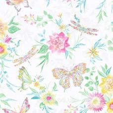 Botanical butterfly multi white
