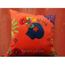Подушка бархатная Art de lys Printed SKULL розовый фон 47х47 M094E