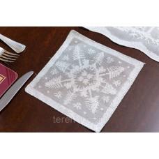 Салфетка костер Рождественская MYB хлопковая Madras 15х15см серебро 10200Н-1