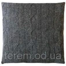 Подушка вязанная серая шерсть 50х50см